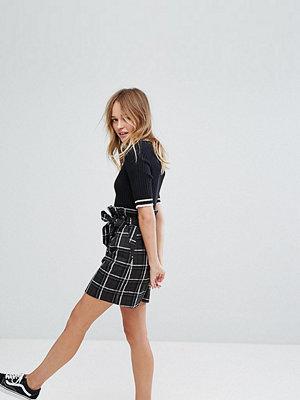 Monki Check Waistband Mini Skirt