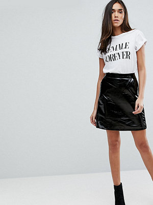 Warehouse Patent Leather Look A-Line Mini Skirt