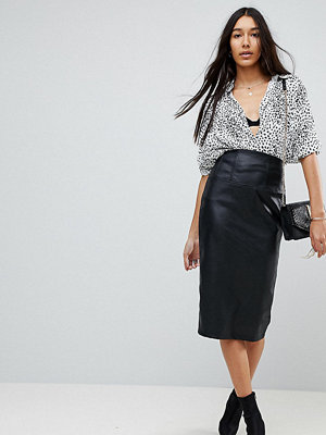 Asos Tall High Waist Sculpt Me Midi Skirt