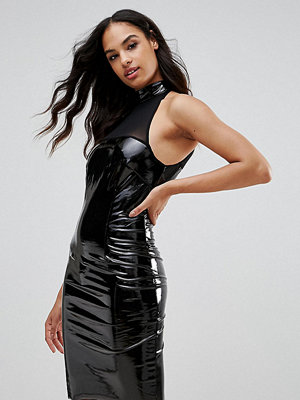 NaaNaa Bodycon Dress With Mesh Detail In PVC