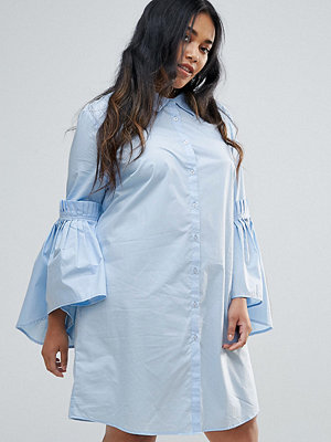 Unique 21 Hero Plus Shirt Dress With Gathered Ruffle Sleeves