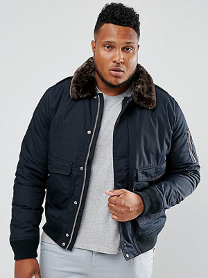 Bomberjackor - Schott PLUS Air Bomber Jacket Detachable Faux Fur Collar Slim Fit in Navy/Brown