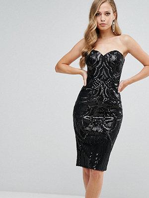 Bariano Deep Sweetheart Sequin Midi Dress