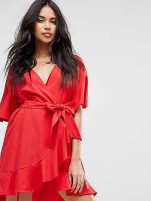 Boohoo Frill Detail Wrap Dress