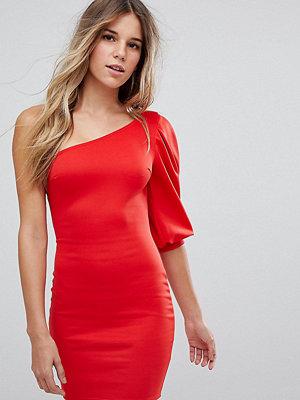 Boohoo One Shoulder Puff Sleeve Bodycon Dress