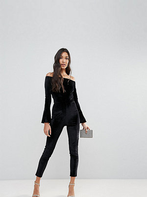 Jumpsuits & playsuits - Oh My Love Tall Off The Shoulder Flute Sleeve Velvet Jumpsuit