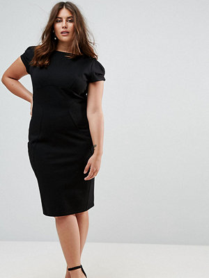 Closet London Plus Pencil Dress With Ruched Cap Sleeve