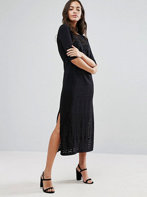 Warehouse 3/4 Sleeve Lace Insert Midi Dress