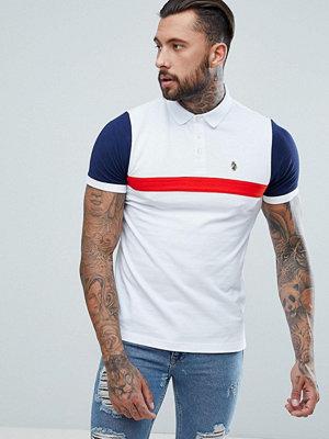 Pikétröjor - Luke Sport Fosbury Colour Block Polo Shirt In White Mix