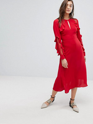 Warehouse Ruffle Lace Midi Dress