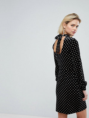 Warehouse Spot Velvet Shift Dress