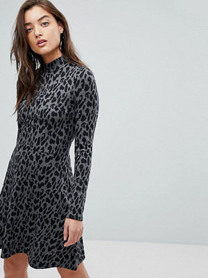 Warehouse Animal Print Knitted Mini Dress
