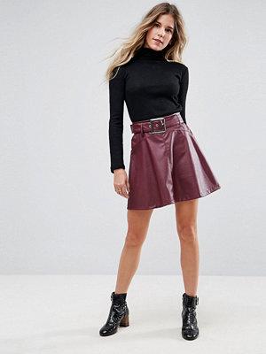 ASOS Leather Look Mini Skater Skirt with Belt Detail
