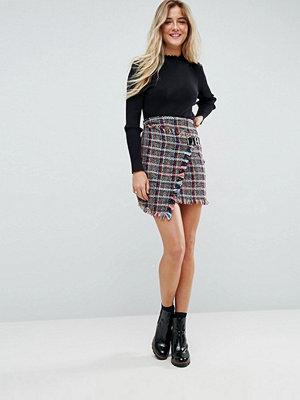 ASOS Check Boucle Mini Skirt with Wrap Detail