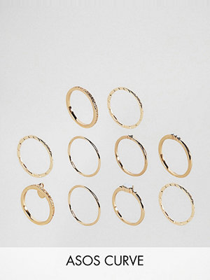 ASOS Curve Exclusive Pack of 10 Engraved Disc & Stone Rings