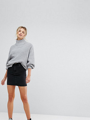 Asos Tall ASOS DESIGN Tall denim original high waisted skirt in washed black - Washed black