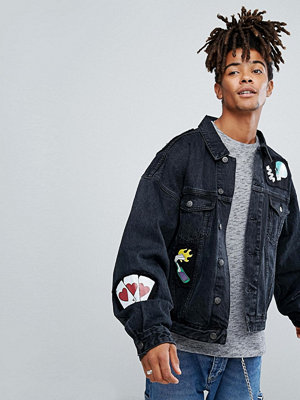 Jeansjackor - ASOS Oversized Denim Jacket In Black With Patches