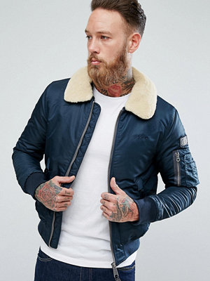 Bomberjackor - Schott Pilote Nylon Bomber Jacket Detachable Faux Fur Collar Slim Fit in Navy