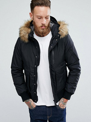 Bomberjackor - Schott Tornado Insulated Bomber Jacket Hooded Detachable Faux Fur Trim in Black