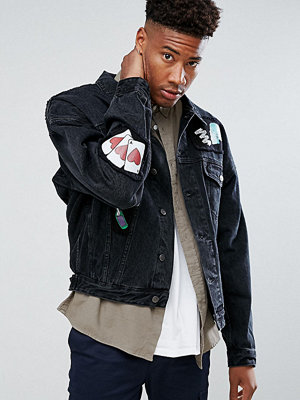Jeansjackor - ASOS TALL Oversized Denim Jacket In Black With Patches