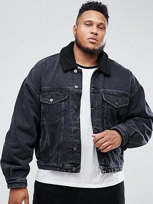 Jeansjackor - ASOS PLUS Oversized Denim Jacket with Borg Collar in Washed Black