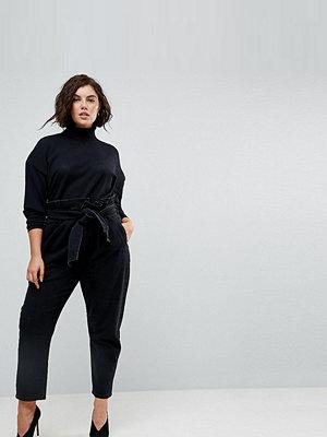 ASOS Curve Paper Bag Waist Boyfriend Jeans with Belt