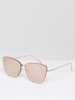 Solglasögon - ASOS Cat Eye Rose Gold Sunglasses With Laid On Lens