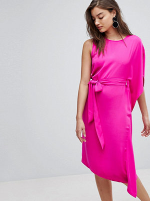 Warehouse Asymmetric Ruffle Midi Dress