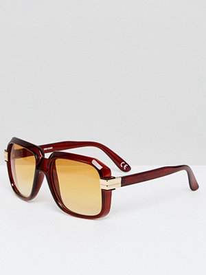 Solglasögon - ASOS Navigator Sunglasses In Crystal Brown With Yellow Fade Lens