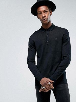 Pikétröjor - AllSaints Knitted Long Sleeve Polo Shirt In Merino Wool