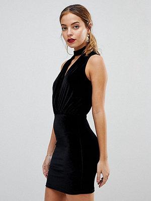 ASOS Petite Velvet Bodycon Dress with Choker