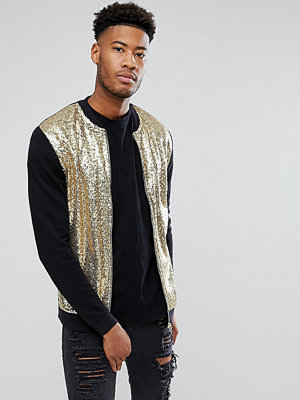 Bomberjackor - ASOS TALL Gold Sequin Bomber Jacket
