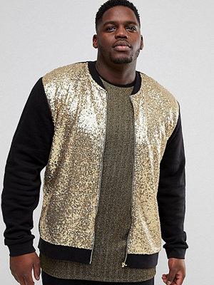 Bomberjackor - ASOS PLUS Gold Sequin Bomber Jacket