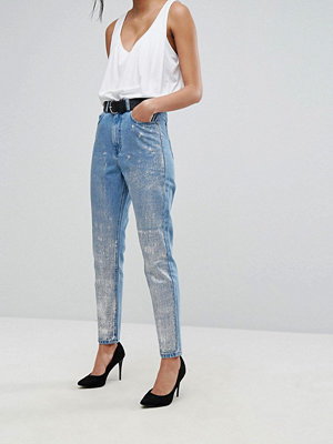 Dr. Denim Mom Jeans with Silver Coating