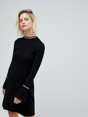 Warehouse Embellished Neck Flare Cuff Knitted Dress