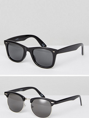 Solglasögon - ASOS 2 Pack Square & Retro Sunglasses In Black SAVE