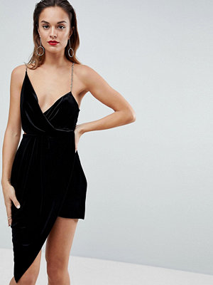 ASOS Velvet Drape Chain Back Midi Dress