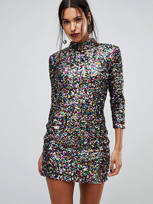 Warehouse Rainbow Sequin Shift Dress