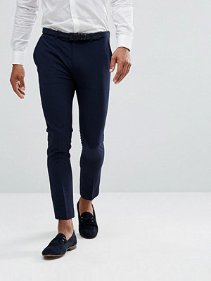 ASOS Extreme Super Skinny Cropped Smart Trousers in Navy