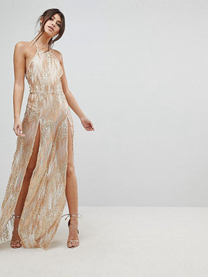 NaaNaa Sequin Maxi Dress with Double Thigh Split