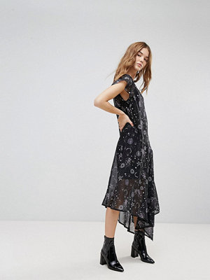 New Look Sheer Galaxy Printed Asymmetric Hem Dress