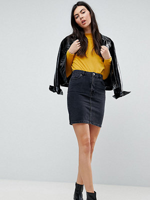 Asos Tall ASOS DESIGN Tall denim original high waisted skirt in washed black