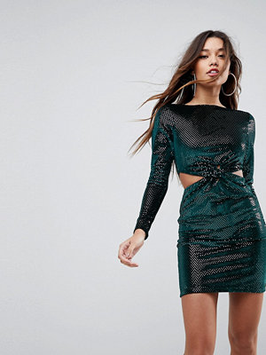 ASOS Twist Front Cut Out Glitter Velvet Mini Dress