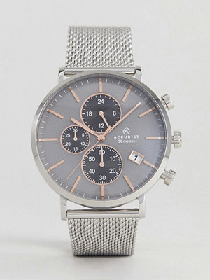 Klockor - Accurist 7187.01 Chronograph Mesh Watch In Silver