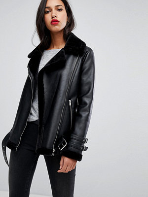 Vero Moda Faux Leather Aviator Jacket