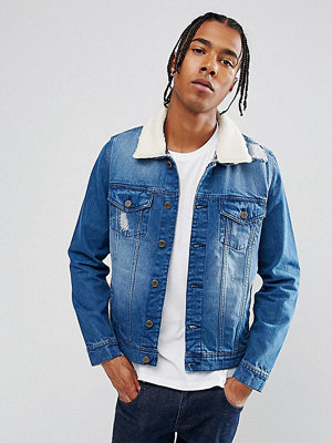 Jeansjackor - Brooklyn Supply Co. Brooklyn Supply Co Distressed Mid Wash Borg Denim Jacket