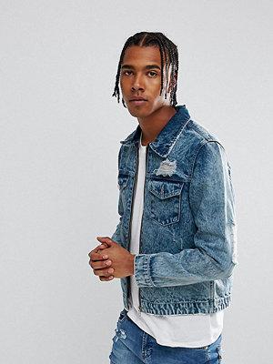 Jeansjackor - Brooklyn Supply Co. Brooklyn Supply Co Bleached Denim Jacket With Zip