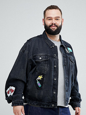 Jeansjackor - ASOS PLUS Oversized Denim Jacket In Black With Patches