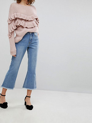 Lost Ink Kick Flare Jeans With Raw Hems