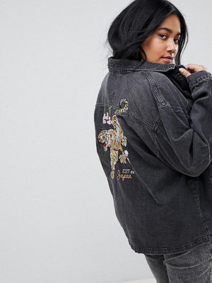 Jeansjackor - Chorus Plus Tiger Embroidery Oversized Denim Jacket